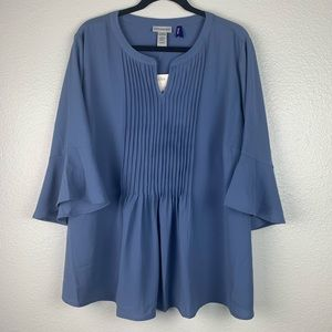 NWT Catherine's Blue Pleated Blouse 2XL Petite